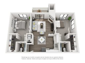 large floor plan 3d rendering for apartments in morrison colorado